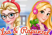 game Elsa And Rapunzel College Girls