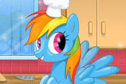 game Rainbow Dash cooking M and M cake